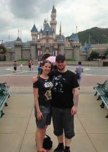 In front of Sleeping Beauty's Castle