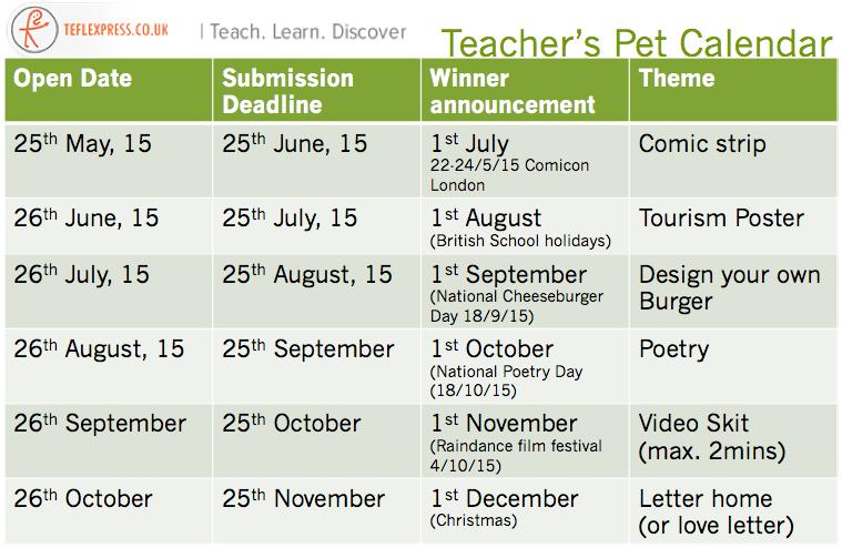 Teacher's Pet Calendar
