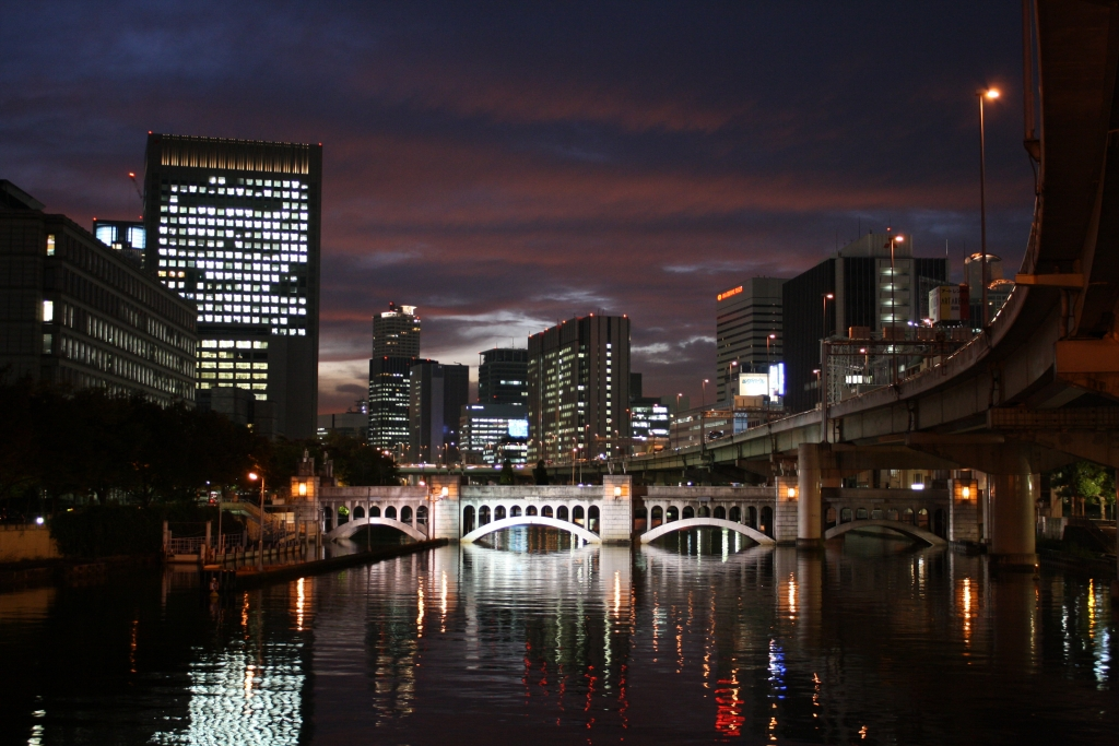 The_night_view_of_the_suishou-bridge_in_Osaka_Nakanoshima